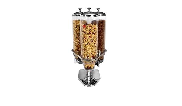 Dispensador de cereales (acero inoxidable y policarbonato, 3 tarros de 4 l de capacidad): Amazon.es: Hogar