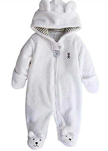 Newborn Baby Boys Girls 3D Cartoon Bear Hoodie Romper Warm Fleece Jumpsuit Outfits Footie Bear Fleece Hoodie