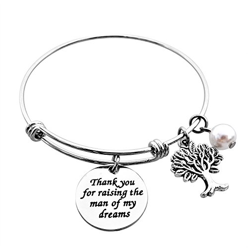 ALoveSoul Mother in Law Gift - Thank You for Raising The Man of My Dreams Expandable Bracelet Family Tree Bracelet Mother of The Groom Gifts