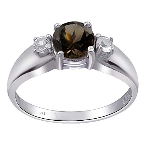 1 Ct Brown Round Smoky Quartz And White Topaz 925 Sterling Silver Ring For Women: Nickel Free Cute And Simple Birthday Gift For Sister: Ring Size-7