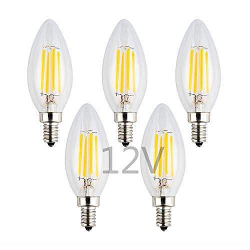 (OPALRAY 12V/24V LED Candle Bulb, Dimmable with 12V DC Dimmer, 4W 400Lm, 2700K Warm White Light, E12 Small Base, Clear Glass Torpedo Tip, 40W Incandescent Replacement, 12 Volts Power Operated, 5 Pack)