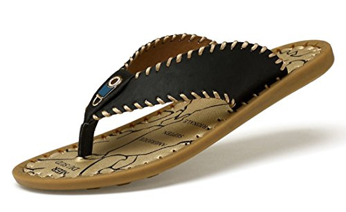 Black Leather Flops Comfort Summer Casual Slip Beach Slippers TDA Flip Stitching on Men's wqIcT7nHS