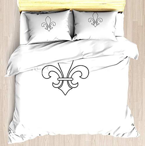 - SINOVAL Fleur-de-lis King/Cal-King Brushed Microfiber 1 Duvet Cover 2 Pillow Shams Zipper Closure