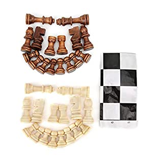 Tnfeeon Wooden Chess Set, Wooden Chessboard Chess Pieces Set with Plastic Film Intellectual Game for Children Adults
