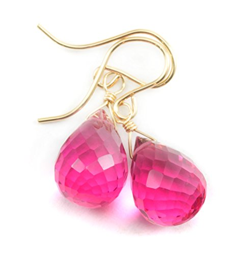 14k Gold Filled Simulated Watermelon Pink Tourmaline Earrings Rounded Briolette Teardrops