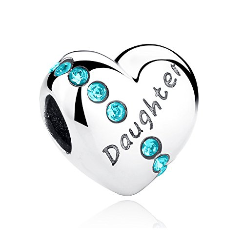 BISAER Silver Heart Daughter Charm Love Heart Charm with Birthstone Rhinestone Fits European Bracelet Jewelry Making for Teens Girls Gift ()