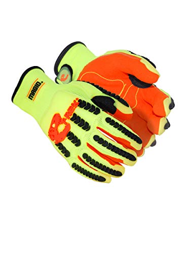 Magid Safety T-REX TRX500S Glove | Oil & Gas Drilling Impact Polyester Gloves - Cut Level 1, Puncture Level 3, Black/Orange/Hi-Viz Yellow, Small (1 Pair)