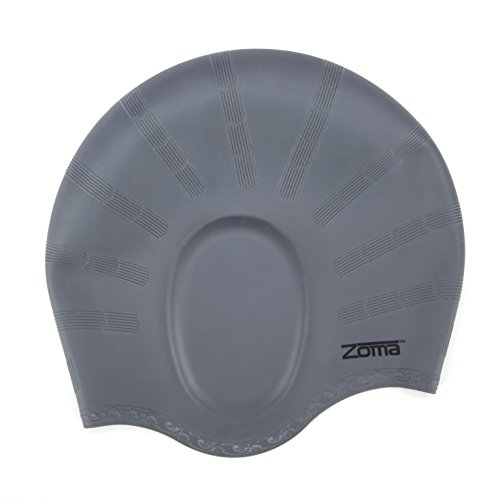 Swim Cap for Women and Men with Average or Large Heads - Great for Adults, Older Kids, Boys and Girls - Free Nose Clip (Charcoal)