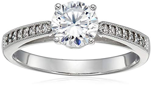 Size 7 - Solid 14k White Gold Milgrain Band with Round Brilliant Cut Solitaire with Round Side Stones CZ Cubic Zirconia Engagement Ring 1.5ct.