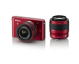 Nikon 1 J1 10.1 MP HD Digital Camera System with 10-30mm VR and 30-110mm VR 1 NIKKOR Lenses (Red)