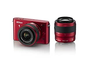 Nikon 1 J1 10.1 MP HD Digital Camera System with 10-30mm VR and 30-110mm VR 1 NIKKOR Lenses (Red)