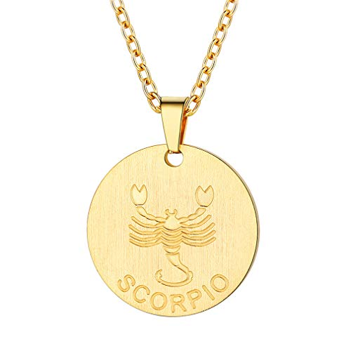 FaithHeart Customizable Astrology 12 Constellation Horoscope Necklace, 18K Gold Plated Scorpio Zodiac Star Sign Coin Pendant Necklace Birthday Gifts Lucky Charms Layered Necklace (Gold)