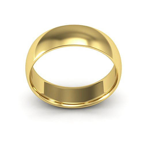 14K Yellow Gold men's and women's plain wedding bands 6mm comfort-fit light, 12 by i Wedding Band (Image #2)