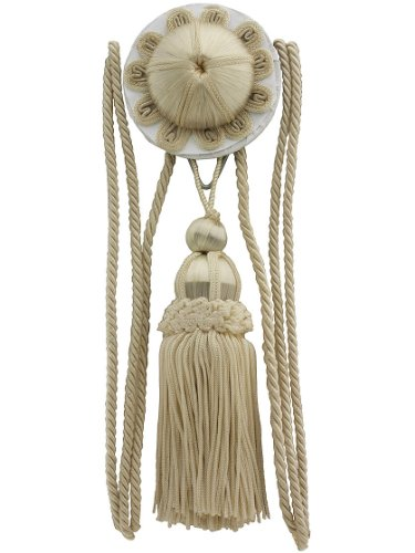 House of Antique Hardware R-010SV-170 Flora Rosette and Tassel Picture Hanger Kit with Rail Hook in Antique Ivory