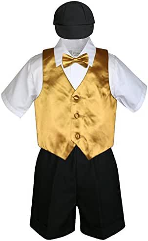 5pc Baby Toddlers Boy Gold Vest Bow Tie Set Black Suit Outfit Cap S-4T (XL:(18-24 months))