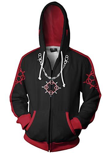 (Kingdom Hearts Sora Xemnas Roxas Printed Hooded Sweatshirt Jacket Pullover Cosplay Costume S-5XL (L,)