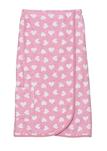TowelSelections Women's Wrap, Shower & Bath, Terry Spa Towel Large Pink-White Heart ()