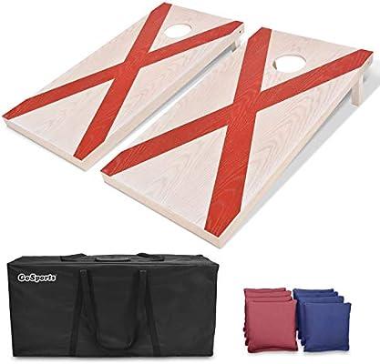 bfe30d7cd94 GoSports Alabama Regulation Size Solid Wood Cornhole Set - Alabama Flag -  Includes Two 4
