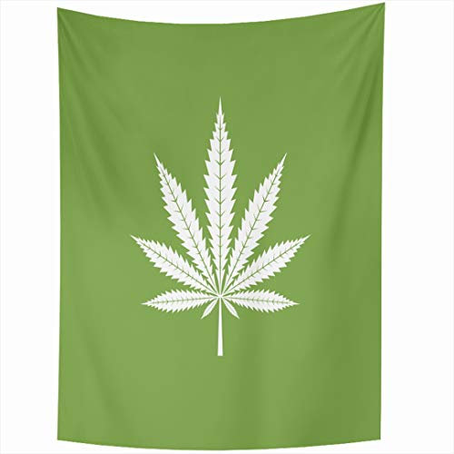 Ahawoso Tapestry 60x80 Inch Isolated Green Weed Narcotic Leaf Healthcare Smoke Grass Nature Medical Legal Plant Farm Hashish Spray White Tapestries Wall Hanging Home Decor Living Room Bedroom Dorm