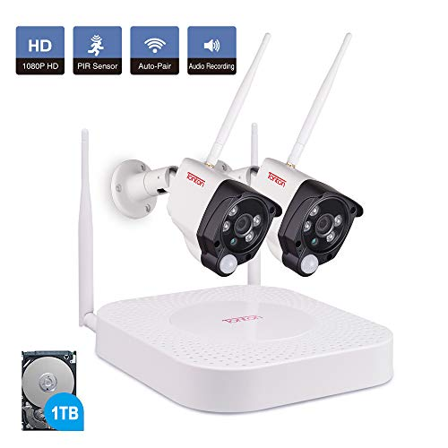 Tonton 1080P Full HD Wireless Expandable Security Camera System, 4CH NVR Kit with 1TB HDD and 2PCS 2.0 MP Waterproof Outdoor Indoor Bullet Cameras with PIR Sensor, Audio Record, P2P and Auto-Pair