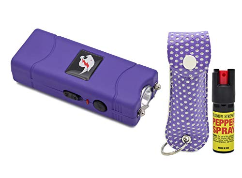 Mini Stun Gun Pepper Spray Combo for Self Defense - Extremely Powerful Stun Gun with Led Flashlight 1/2 Ounce Police Grade Max Strength 10% Pepper Stream w/Pouch for Men and Women (Purple Bling)