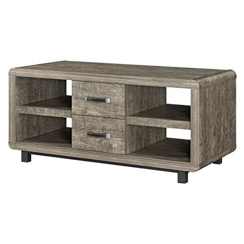 Stylish Coffee Table With 2 Little Drawers and 4 Cubby Holes For Storage and Display Made of Hollow Core & MDF & Particleboard in Light - Base 4.5' Hollow