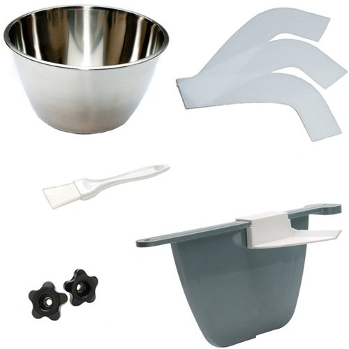 Machine Accessory Kit for ChocoVision Revolation V Chocolate Tempering Machine (contains Bowl, Baffle with Clip, 3-Pack of Scrapers, 2 Knobs, Baffle Brush)