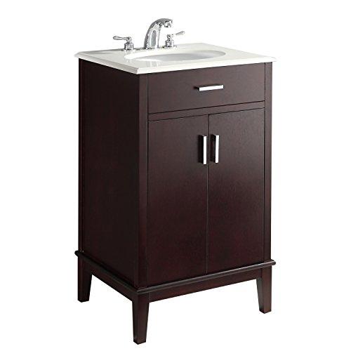 Simpli Home CLT090201H-20 Urban Loft 20 inch Contemporary Bath Vanity in Dark espresso Brown with Bombay White Engineered Quartz Marble Top
