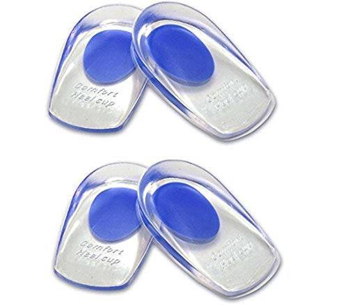 Absorb Blue Gel (LOTGO Medical Grade Gel Heel Pad Silicone Cups Ankle Heel Pain Relief Cushion Shock Absorb Support (2 Pairs Blue))