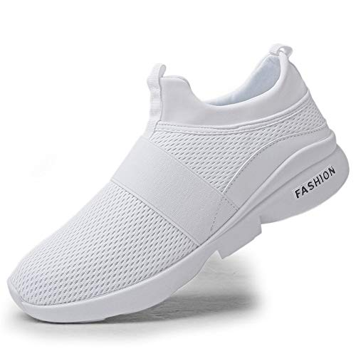 Gobeter Men's Slip On Walking Sneakers Breathable Lightweight Comfort Trail Running Shoes Tennis Shoes(666bai40) White, 7 ()