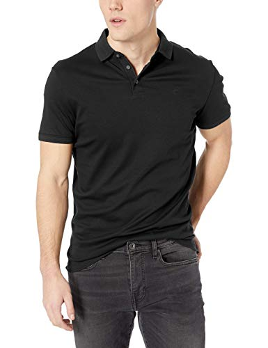 Calvin Klein Men's Tall Liquid Touch Polo Stripe with UV Protection, Black, 2X-Large Big