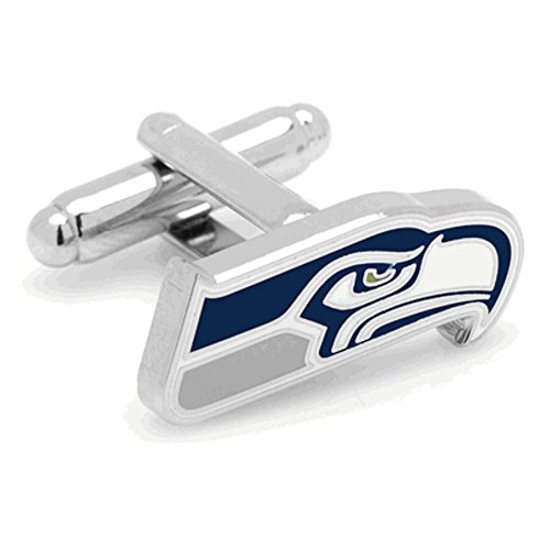 Cufflinks Metal Mens Cuff Links Licensed Seattle Seahawks Logo NFL Multicolored