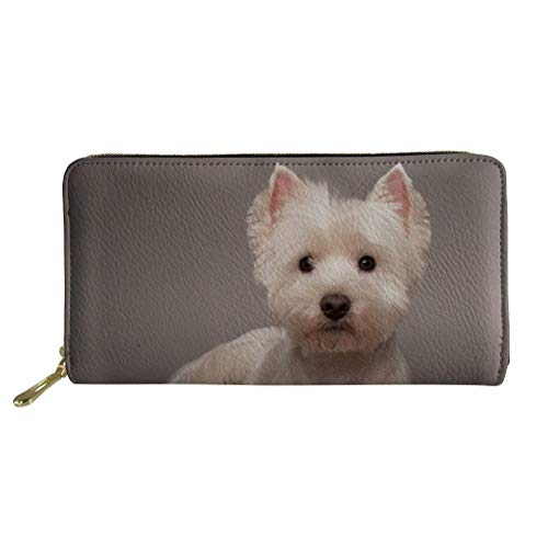 (Showudesigns Westie Wallet for Women PU Leather Long Zipper Clutch Bag with Card Holder)