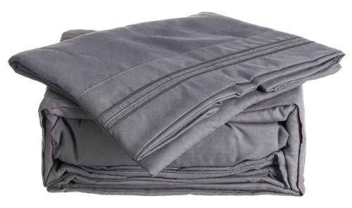 Simple Deluxe 1500 Series 4 Piece Microfiber Bed Sheet Set, King, - Deluxe Bed Set