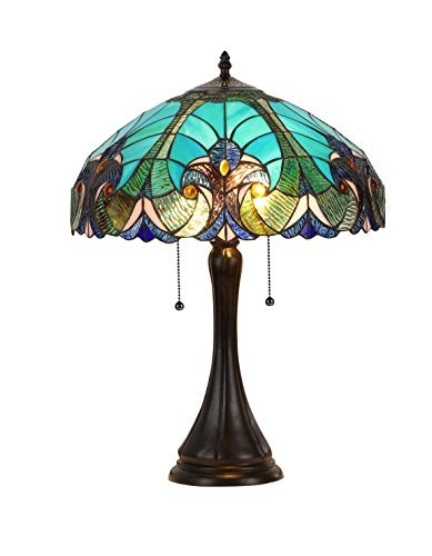 (Chloe Lighting CH16780VG16-TL2 Amor Tiffany-Style Victorian 2 Light Table Lamp with Shade, 21.5 x 16 x 16