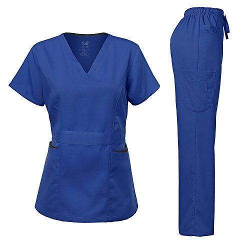 (Medical Uniform Women's Scrubs Set Stretch Contrast Pocket Royal XL)