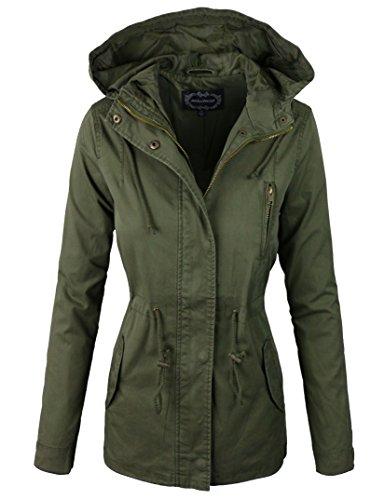 makeitmint Women's Zip Up Military Anorak Jacket w/ Hood Large YJH0018_06Olive