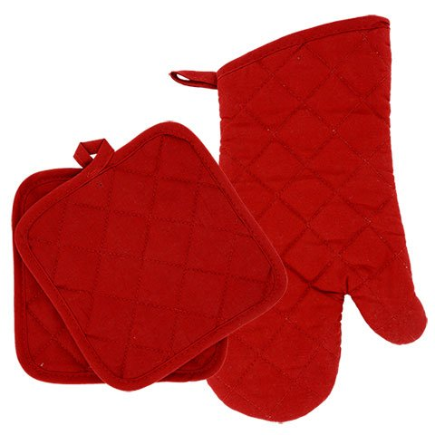 Home Collection Red Kitchen Linen Bundle Package Oven Mitts (1) Pot Holder (2) Kitchen Towels (2)