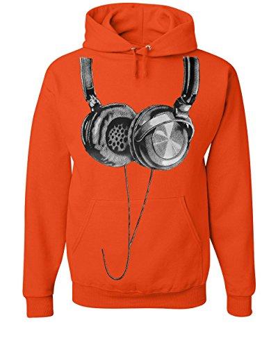 Tee Hunt Huge Hanging Headphones Hoodie DJ Music Sweatshirt Orange XL ()