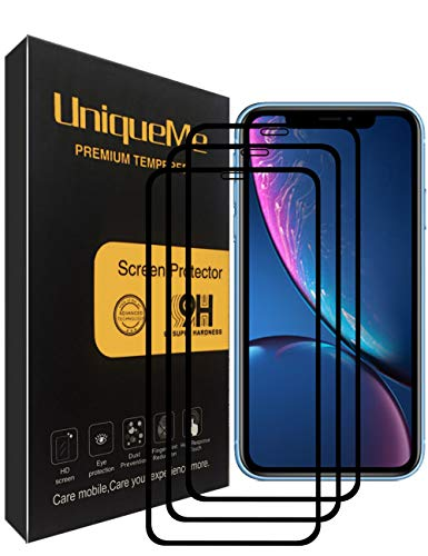 [3 Pack] INGLE Compatible with iPhone XR Screen Protector,Full Coverage Tempered Glass Screen Protector Film Edge to Edge Protection for iPhone XR - Black