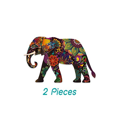 Set Elephant Decal - Empt Idio -(5 x 3.19 Inch) 3M Sticker -Set 2 Pieces, Colorful Flower Lovely Elephant Removable Vinyl Decals Stickers Skin for Laptop, Skateboard, Window, Car, Guitar, Luggage, Motorcycle, PS4