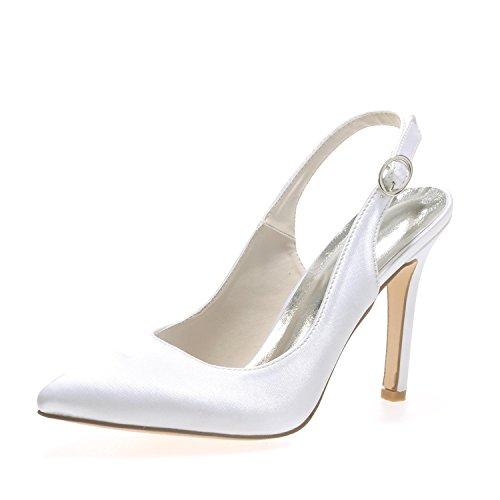 L@YC E0608-20 Frauen Hochzeit High Heels Seide Stoff Hochzeit Abendgesellschaft & White