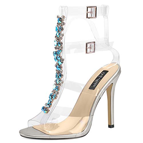 (onlymaker Women's Clear Turquoise Rhinestones High Heels Gladiator Transparent Stiletto Ankle Strap Open Toe Sandals Silver 6 M US)