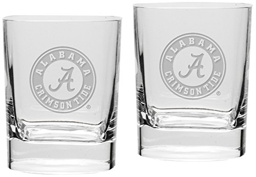 NCAA Alabama Crimson Tide Adult Set of 2 - 14 oz Square Double Old Fashion Glasses Deep Etched Engraved, One Size, Clear