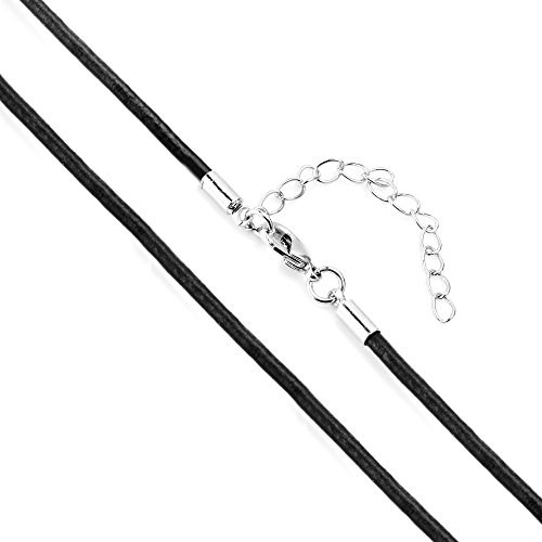 BEADNOVA 20 Inches 2.0mm Black Color Genuine Leather Cord Chain Necklace Cord Chain with Extension Chain Lobster Claw Clasp Wholesale Lot (5pcs / Pack) (20 Inch Black Leather Necklace)