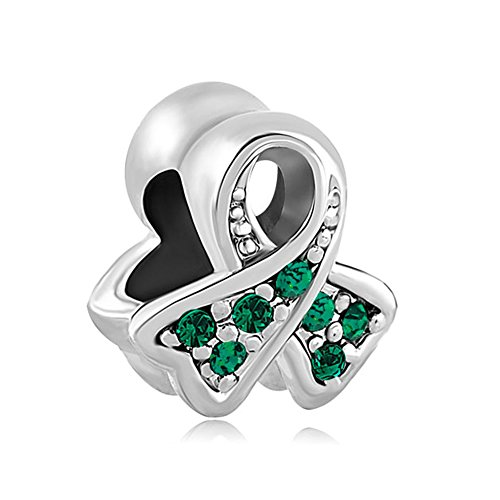 (LovelyJewelry Silver Plated Breast Cancer Awareness Ribbon with Green Crystal CZ Birthstones Charm Bead s Bracelet)