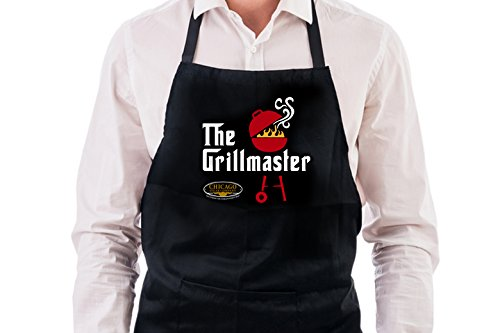 Grill Master Chef Apron: Chicago Steak Kitchen Accessories - Long Black Apron for Women and Men, Perfect for the Grilling Expert at Home, BBQ Cookout & Backyard - Bbq Logo Apron