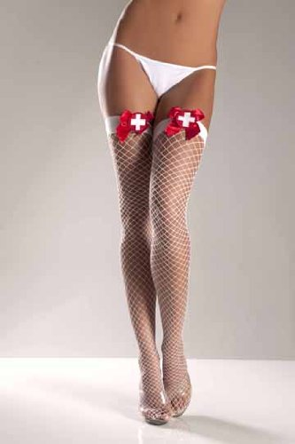 Lycra Industrial Fishnet Thigh High's w/Cross on Bow White O/S