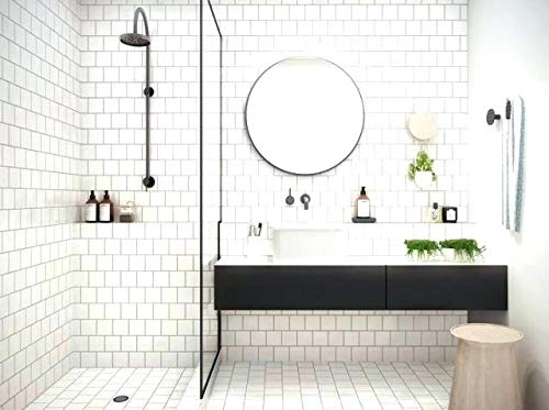 6x6 White Glossy Finish Ceramic Subway Tile Shower Walls Backsplash Made in USA (12.5SF Full Box 50pcs) by Squarefeet Depot