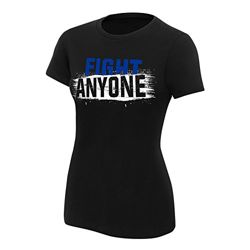 WWE Kevin Owens Fight Anyone Women's Authentic T-Shirt Black Small by WWE Authentic Wear